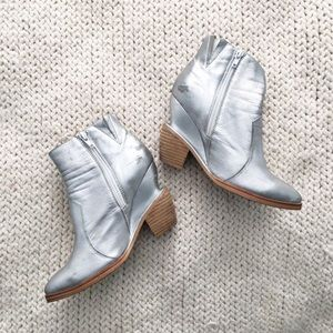 Jeffrey Campbell silver booties wood heel 8